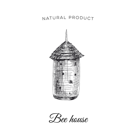 Vector hand drawn honey bee house Illustration. Sketch vintage style. Design template. Retro background.