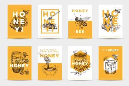 ベクトル手描き蜂蜜ポスター セット。ビンテージ スタイルのイラストをスケッチします。カード デザインのテンプレートです。レトロな背景。