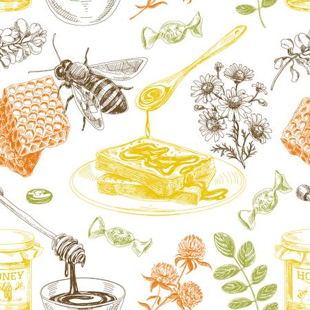 Vector hand drawn honey seamless pattern. Sketch vintage style. Design template. Retro background.