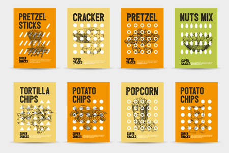 Vector hand drawn snack and junk food cards set. Vintage style sketch background. Template design Illustration