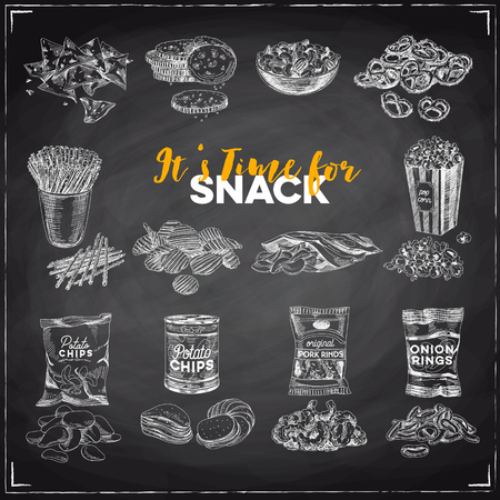 Vintage vector hand drawn snack and junk food sketch Illustrations set. Retro style. Chips,nuts, popcorn. Chalkboard