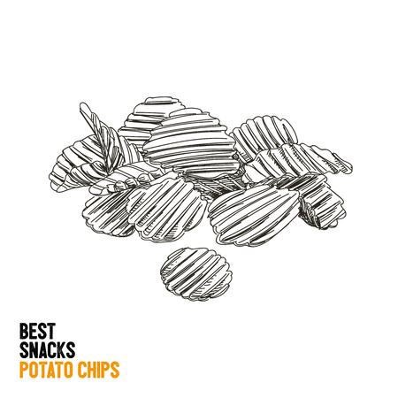 Vector hand drawn snack and junk food Illustration. Potato chips. Vintage style sketch. Illustration