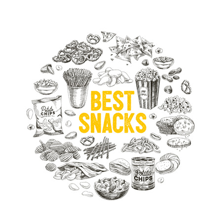 Vector hand drawn snack and junk food Illustration. Vintage style sketch background. 版權商用圖片 - 80317931