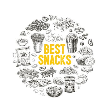 Vector hand getrokken snack en junk food illustratie. Vintage stijl schets achtergrond.