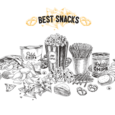 Vector hand drawn snack and junk food Illustration. Seamless border. Vintage style sketch background. Reklamní fotografie - 80317934