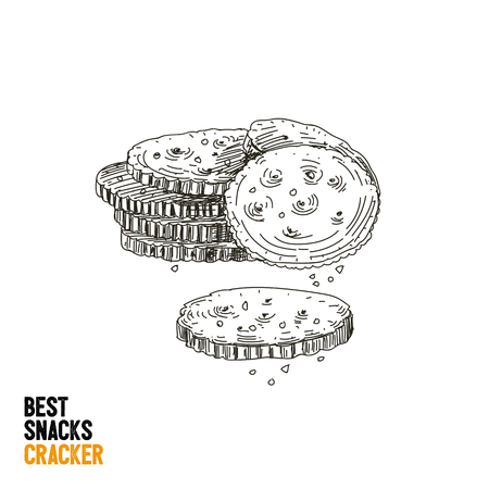 Vector hand drawn snack and junk food Illustration. Crackers. Vintage style sketch.