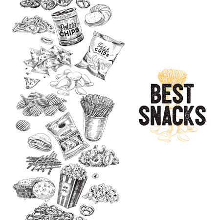 Vector hand drawn snack and junk food Illustration. Seamless border. Vintage style sketch background. Reklamní fotografie - 80317944