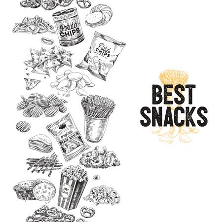 Vektor Hand gezeichnet Snack und Junk Food Illustration. Nahtlose Grenze Vintage Stil Skizze Hintergrund. Standard-Bild - 80317944