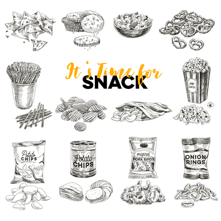 Vintage vector hand drawn snack and junk food sketch Illustrations set. Retro style. Chips,nuts, popcorn. Vettoriali