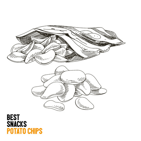 Vector hand drawn snack and junk food Illustration. Potato chips. Vintage style sketch. Illustration