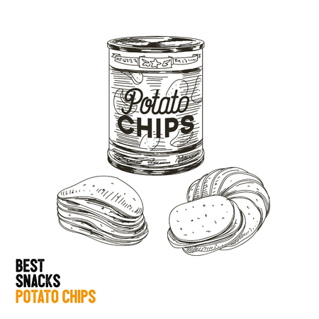 savoury: Vector hand drawn snack and junk food Illustration. Potato chips. Vintage style sketch. Illustration