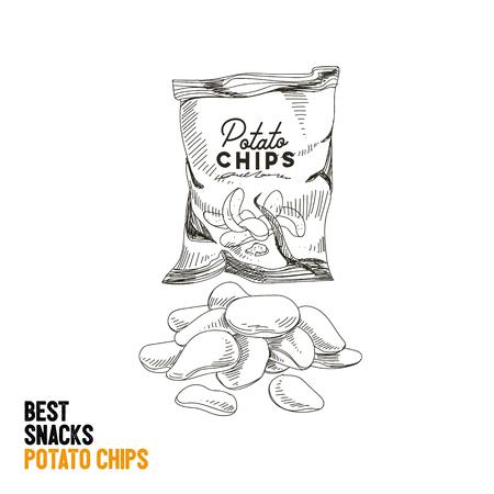 Vector hand drawn snack and junk food Illustration. Potato chips. Vintage style sketch. Ilustração