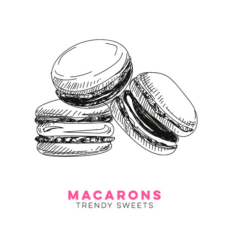 Vector hand drawn macarons Illustration. Sketch vintage style. Design template. Retro background.