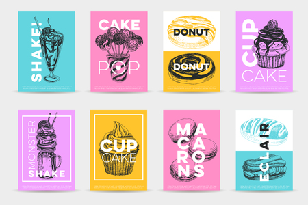 Vector hand drawn set of trendy sweets Illustrations. Sketch vintage style. Design template. Retro background. Illusztráció