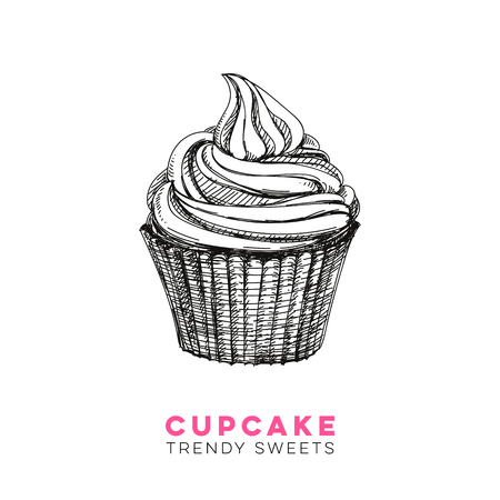 Vector hand drawn cupcake Illustration. Sketch vintage style. Design template. Retro background. Illustration
