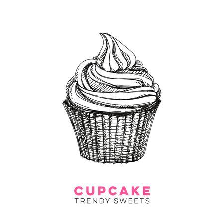Vector hand drawn cupcake Illustration. Sketch vintage style. Design template. Retro background. Çizim