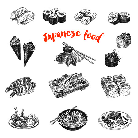 Vintage vector hand drawn Japanese food sketch Illustrations set. Retro style. Sushi bar menu. Vettoriali