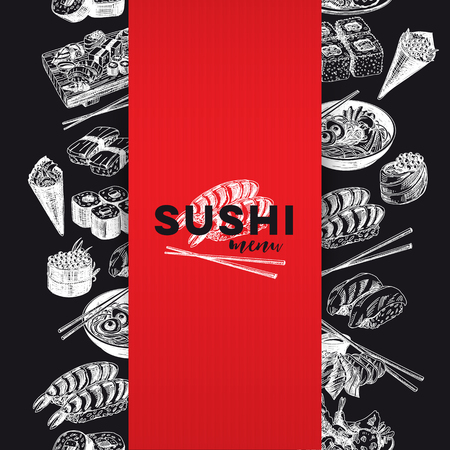 Vintage vector hand drawn Japanese food sketch Illustration.. Retro style Seamless border.