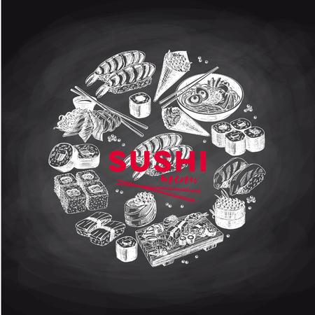 Vintage vector hand drawn Japanese food sketch Illustrations set. Retro style. Sushi bar menu. Illustration