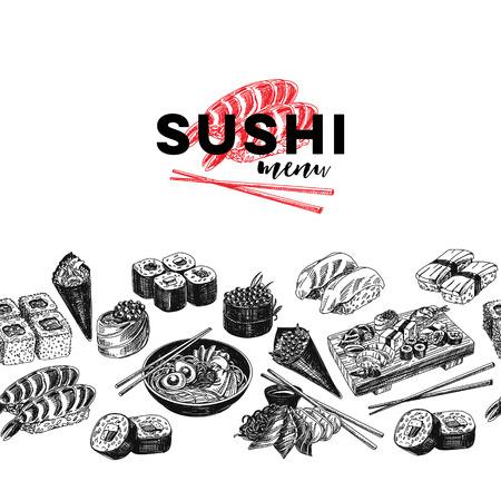 Vintage vector hand drawn Japanese food sketch Illustration.. Retro style Seamless border.