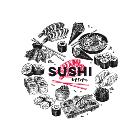 Vintage vector hand drawn Japanese food sketch Illustrations set. Retro style. Sushi bar menu. Ilustração