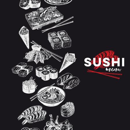 Vector vintage dessiné à la main Croquis japonais de nourriture Illustration .. Style rétro Bordure sans couture. répéter les antécédents. Menu du bar à sushi. Conception de tableau blanc.