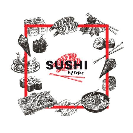 Vintage vector hand drawn Japanese food sketch Illustrations set. Retro style. Sushi bar menu. 向量圖像