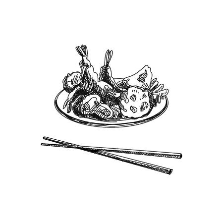 Vintage vector hand drawn Japanese food sketch Illustration. Retro style. Tempura. Sushi bar.