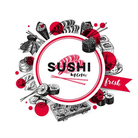 빈티지 벡터 손으로 그려 일본 음식 스케치 일러스트 레이 션 설정합니다. 복고 스타일입니다. 스시 바 메뉴.