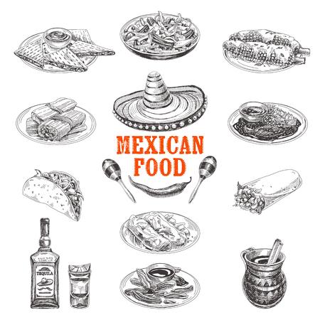 Vintage vector hand drawn set. Mexican food sketch Illustration. Retro style menu design.