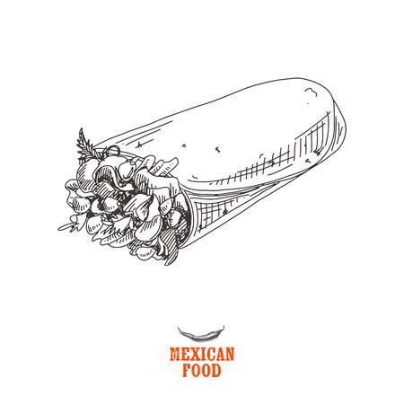 빈티지 벡터 손으로 그려진 된 멕시코 음식 스케치 일러스트 레이 션. 복고 스타일입니다.