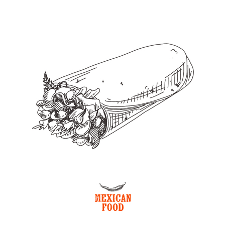 Vintage vector hand drawn Mexican food sketch Illustration. Retro style. Çizim