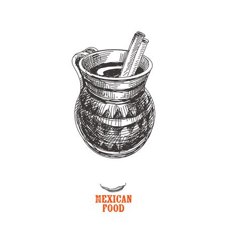 빈티지 벡터 손으로 그린 멕시코 음식 스케치 그림입니다. 복고 스타일입니다. Churros. 일러스트