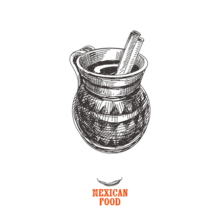 Vintage vector hand drawn Mexican food sketch Illustration. Retro style. Churros. Ilustração