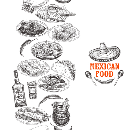 Vintage vector hand drawn mexican food sketch Illustration. Retro style Seamless border. repeating background. Menu template design.