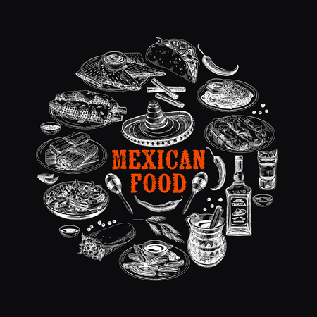 Vintage vector hand drawn mexican food sketch Illustration. Retro style Seamless border. repeating background. Menu template. Chalkboard design.