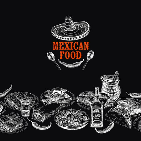 Vintage vector hand drawn mexican food sketch Illustration. Retro style Seamless border. repeating background. Menu template. Chalkboard design. Illustration