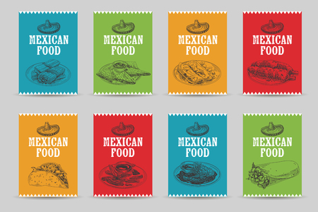Vintage vector hand drawn mexican food sketch Illustrations set. Retro style cards. Menu template. Illustration