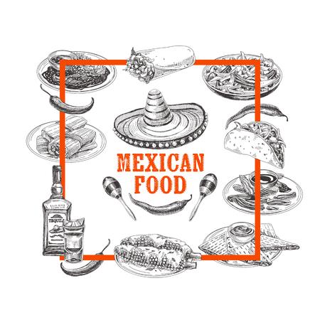 Vintage vector hand drawn mexican food sketch Illustration. Retro style menu design.