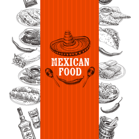 Vintage vector hand drawn mexican food sketch Illustration. Retro style Seamless border. repeating background. Menu design.