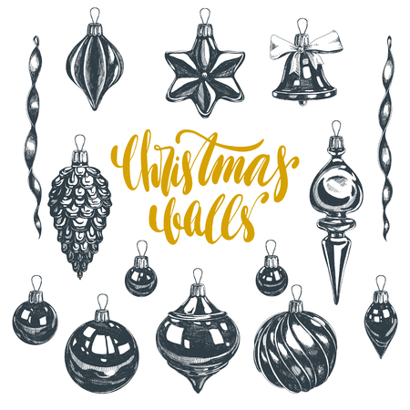 Beautiful vector hand drawn christmas ornaments Illustrations set. Detailed retro style images. Vintage sketches for labels. Elements collection for design.
