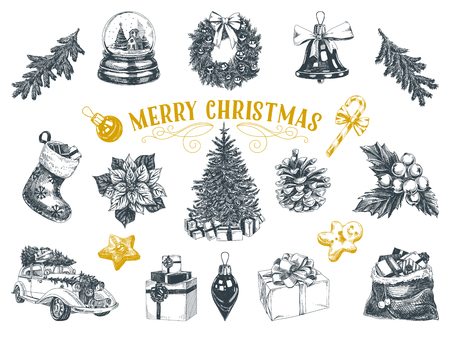 Beautiful vector hand drawn christmas Illustrations set. Detailed retro style images. Vintage sketches for labels. Elements collection for design.