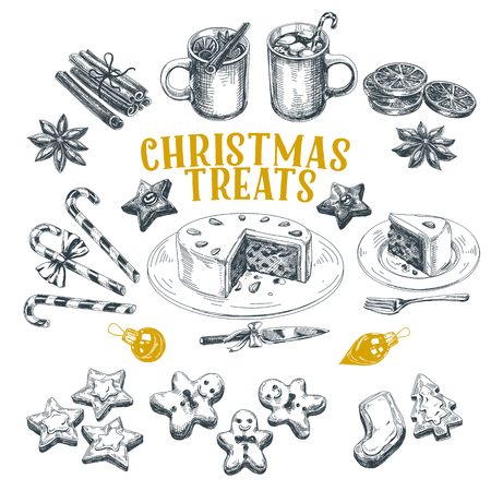 Beautiful vector hand drawn christmas treats Illustrations set. Detailed retro style images. Vintage sketches for labels. Mulled wine, gingerbread man, cake, cinnamon. Elements collection for design.