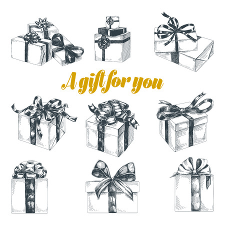 Beautiful vector hand drawn gift boxes Illustrations set. Detailed retro style images. Vintage sketches for labels. Gifts elements collection for design.