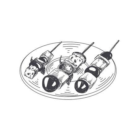 Prachtige vector hand getrokken fingerfood illustratie. Dienblad met canapé in gedetailleerde vintage-stijlafbeeldingen.