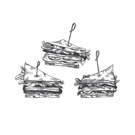美しいベクトル手描きの指食品イラスト。詳細なヴィンテージスタイルの画像でサンドイッチ。