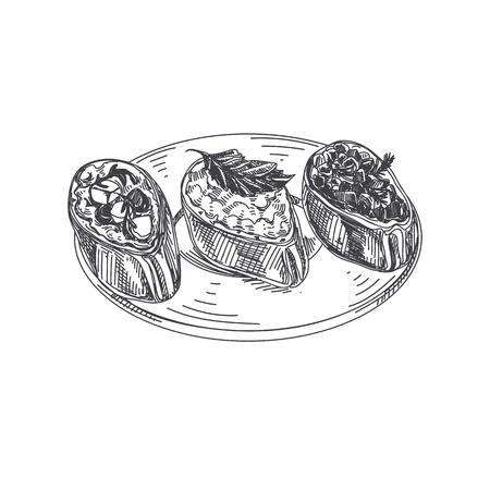 美しいベクトル手描きの指食品イラスト。詳細なヴィンテージスタイルの画像でブルスケッタ。