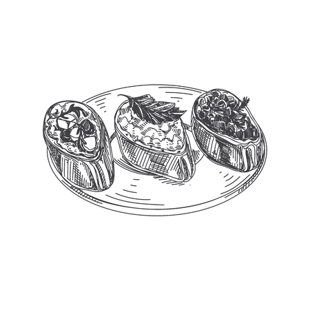 Beautiful vector hand drawn finger food Illustration. Bruschetta in Detailed vintage style images.