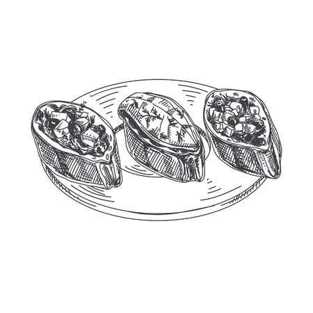 Beautiful vector hand drawn finger food Illustration. Bruschetta in Detailed vintage style images. Vettoriali