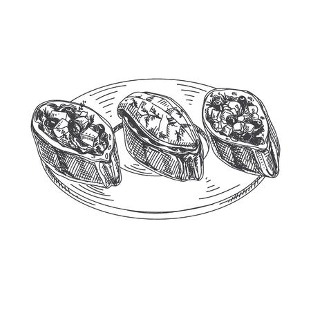 Ilustração tirada mão bonita do alimento de dedo do vetor. Bruschetta em imagens detalhadas do estilo do vintage.